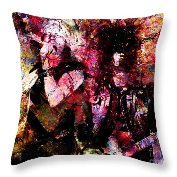 Axl And  Slash Throw Pillow by David Plastik