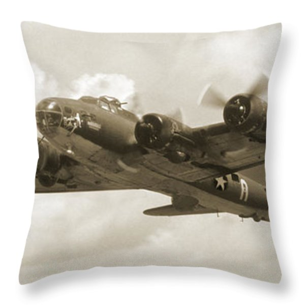 B-17 Flying Fortress Throw Pillow by Mike McGlothlen