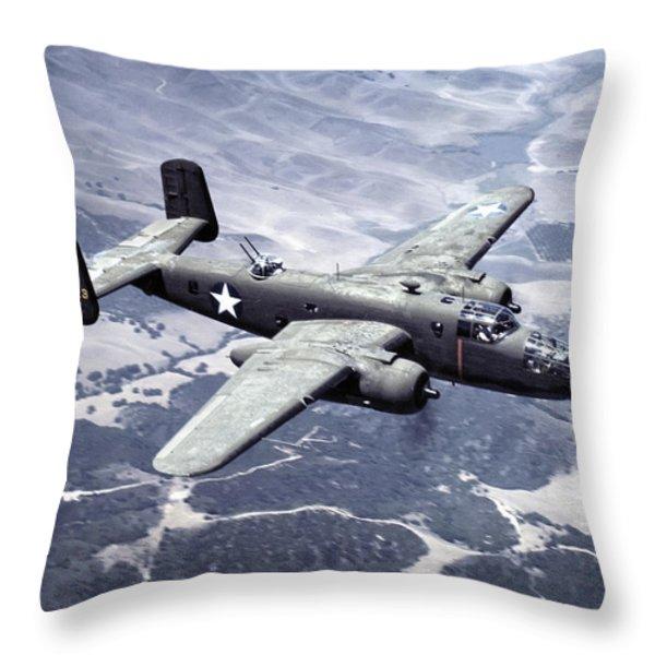 B-25 World War II Era Bomber - 1942 Throw Pillow by Daniel Hagerman