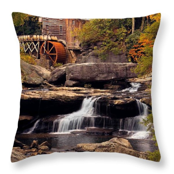 Babcock Grist Mill And Falls Throw Pillow by Jerry Fornarotto