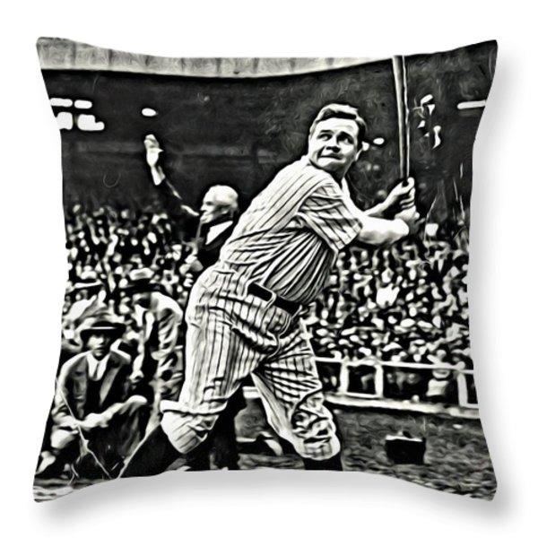 Babe Ruth Painting Throw Pillow by Florian Rodarte