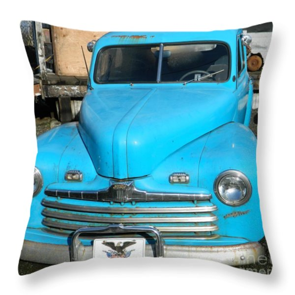Baby Blue Ford Throw Pillow by Chalet Roome-Rigdon
