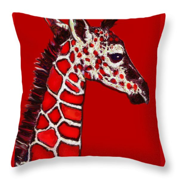 Baby Giraffe In Red Black And White Throw Pillow by Jane Schnetlage