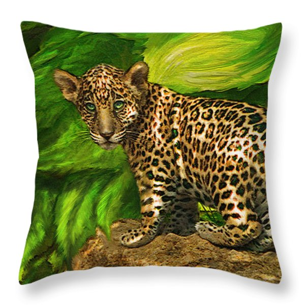 Baby Jaguar Throw Pillow by Jane Schnetlage