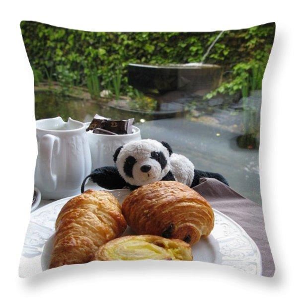 Baby Panda And Croissant Rolls Throw Pillow by Ausra Paulauskaite