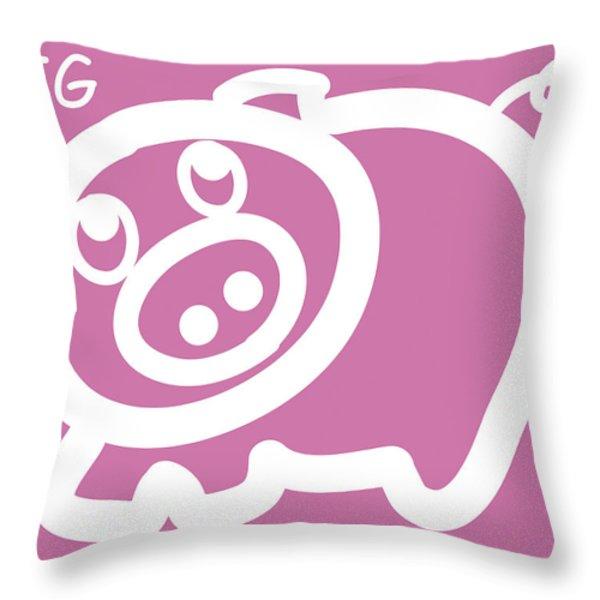 Baby pig art for the nursery Throw Pillow by Nursery Art