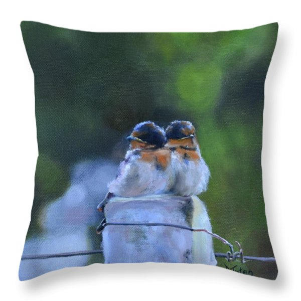 Baby Swallows on Post Throw Pillow by Donna Tuten