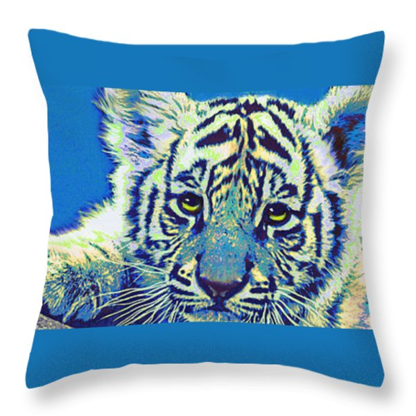 Baby Tiger- Blue Throw Pillow by Jane Schnetlage