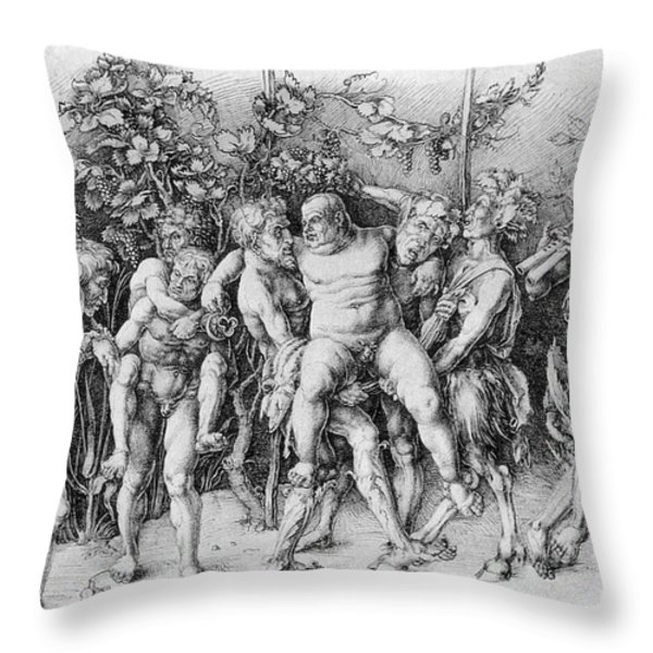 Bacchanal With Silenus - Albrecht Durer Throw Pillow by Daniel Hagerman