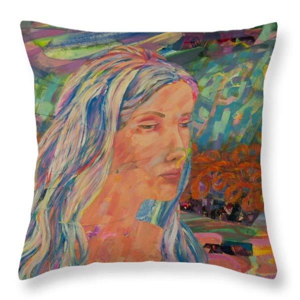 Back Draft - Heidi Throw Pillow by Gina Valenti-Lazarchik