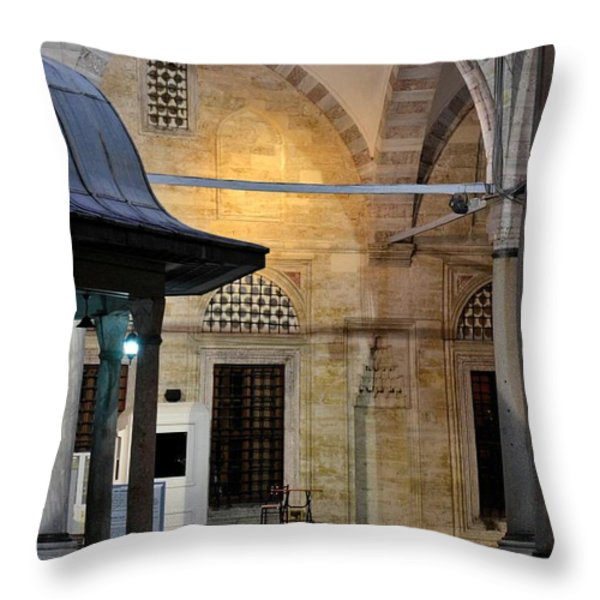 Back Lit Interior Of Mosque  Throw Pillow by Imran Ahmed