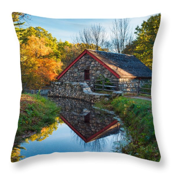 Back of the Grist Mill Throw Pillow by Michael Blanchette