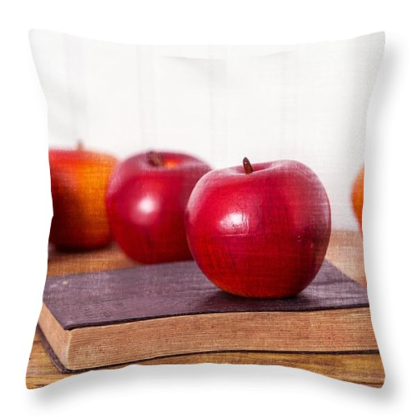 Back to School Apples Throw Pillow by Edward Fielding