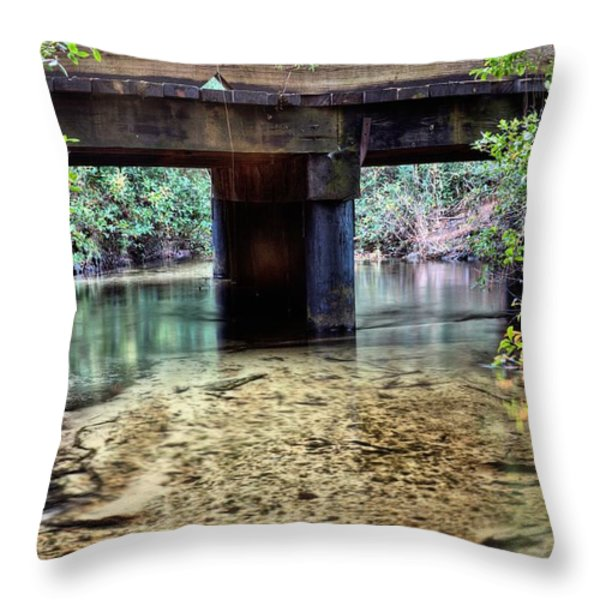 Back Water River Bridge Throw Pillow by JC Findley