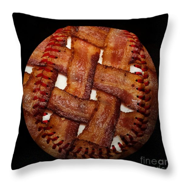 Bacon Weave Baseball Square Throw Pillow by Andee Design