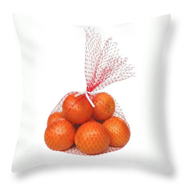 Bag Of Oranges Throw Pillow by Ann Horn