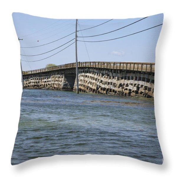 Bailey Island Bridge - Harpswell Maine Throw Pillow by Erin Paul Donovan