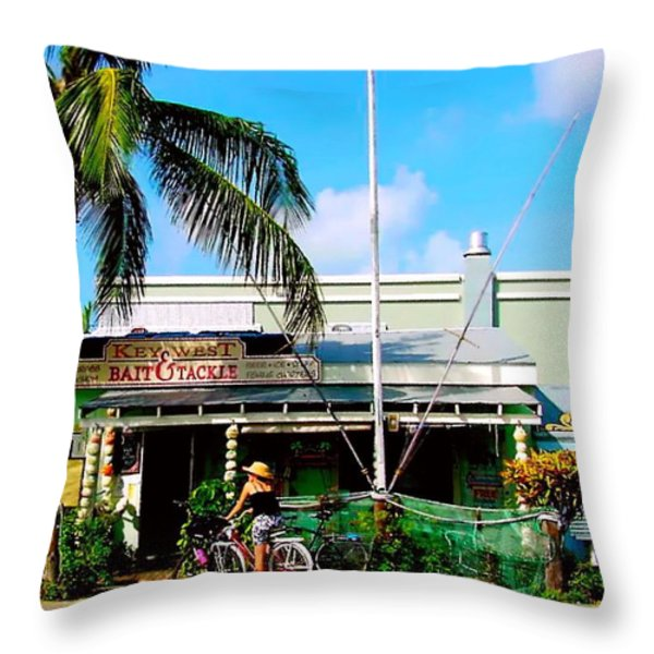 Bait And Tackle Key West Throw Pillow by Iconic Images Art Gallery David Pucciarelli
