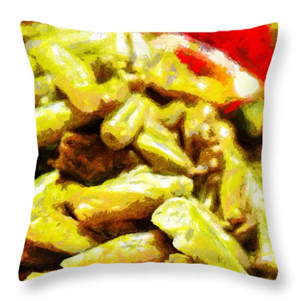 Baked Beans With Chilli Painting Throw Pillow by Magomed Magomedagaev