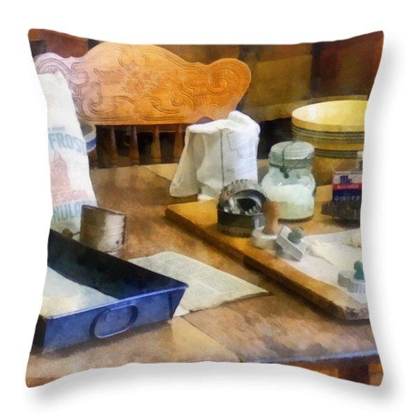 Baking Cookies Throw Pillow by Susan Savad