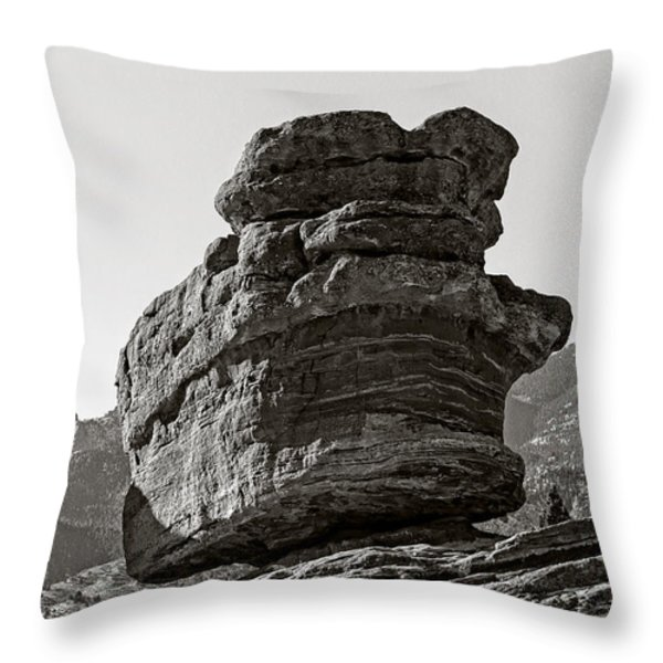 Balanced Rock Throw Pillow by Charles Dobbs