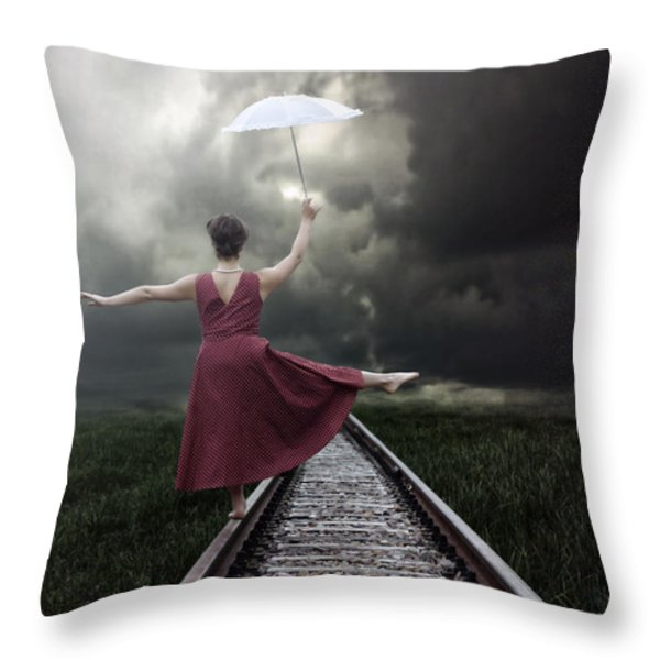 Balancing Throw Pillow by Joana Kruse