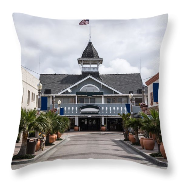 Balboa Downtown Main Street in Newport Beach Throw Pillow by Paul Velgos