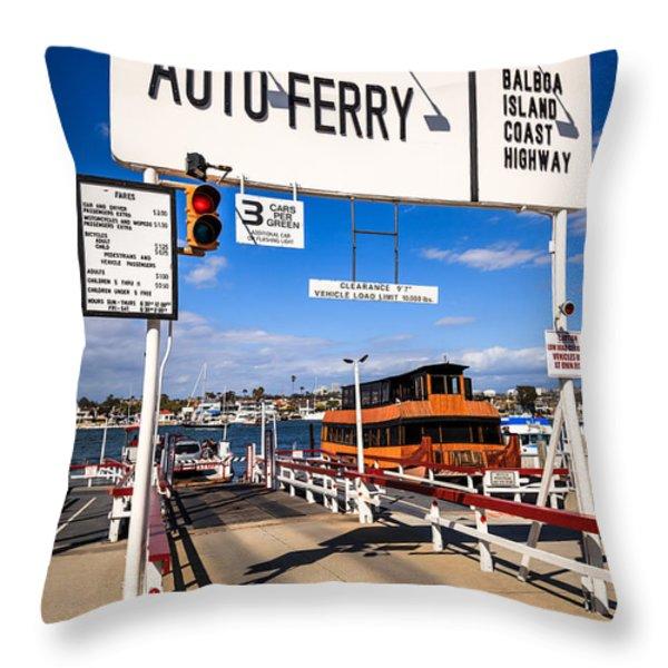 Balboa Island Auto Ferry in Newport Beach California Throw Pillow by Paul Velgos