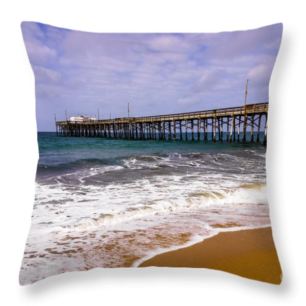 Balboa Pier in Newport Beach California Throw Pillow by Paul Velgos