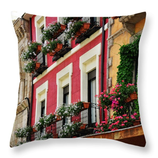Balconies Of Leon Throw Pillow by Mary Machare