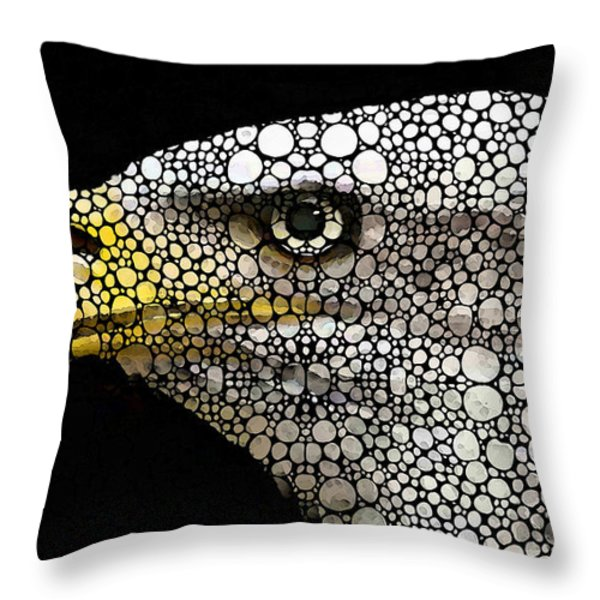 Bald Eagle Art - Eagle Eye - Stone Rock'd Art Throw Pillow by Sharon Cummings