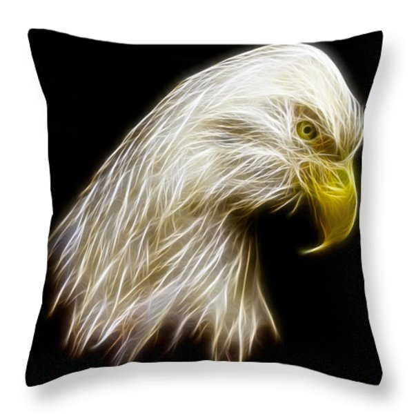 Bald Eagle Fractal Throw Pillow by Adam Romanowicz