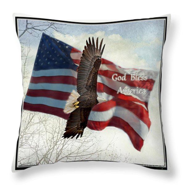 Bald Eagle  God Bless America Throw Pillow by Debbie Portwood