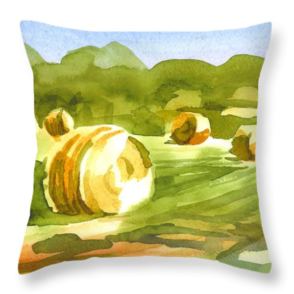Bales in the Morning Sun Throw Pillow by Kip DeVore