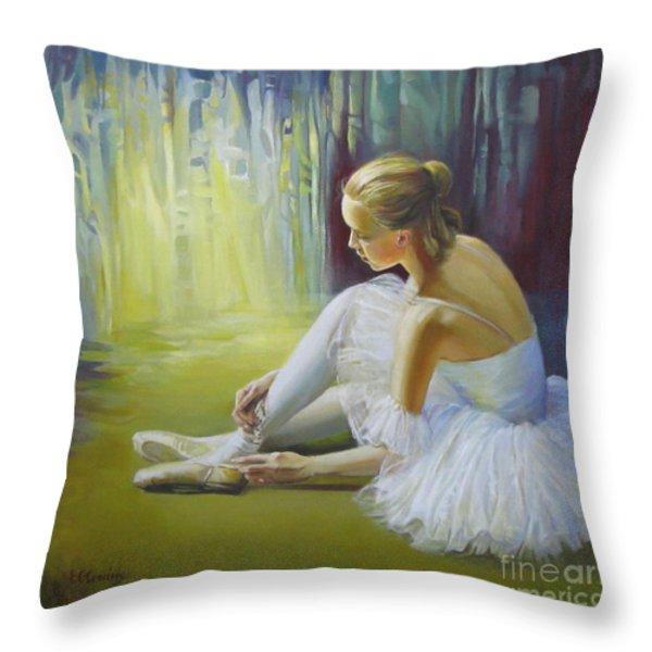 Ballerina Throw Pillow by Elena Oleniuc
