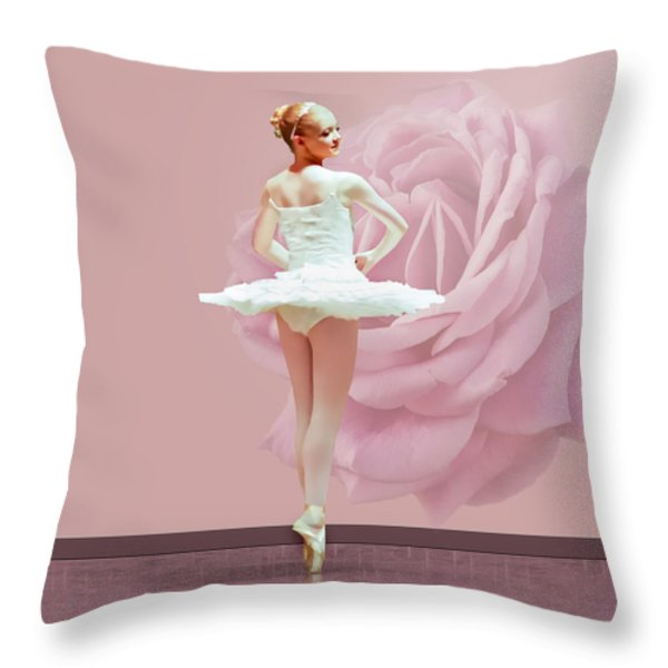 Ballerina in White with Pink Rose  Throw Pillow by Delores Knowles