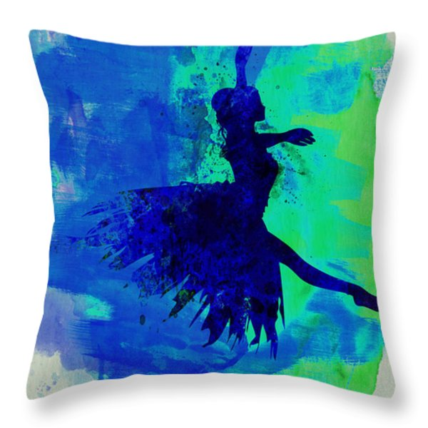 Ballerina On Stage Watercolor 5 Throw Pillow by Naxart Studio