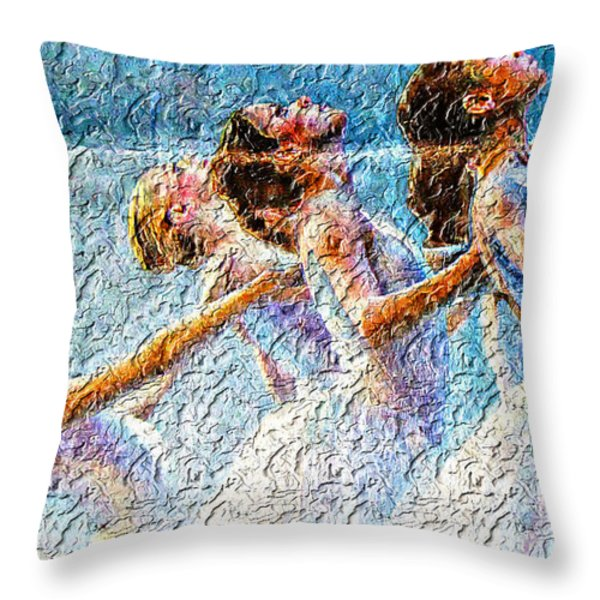 Ballerinas Throw Pillow by M and L Creations