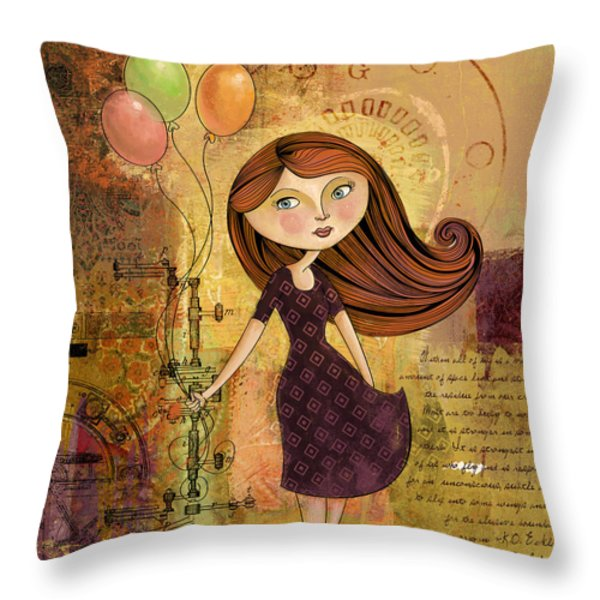 Balloon Girl Throw Pillow by Karyn Lewis Bonfiglio
