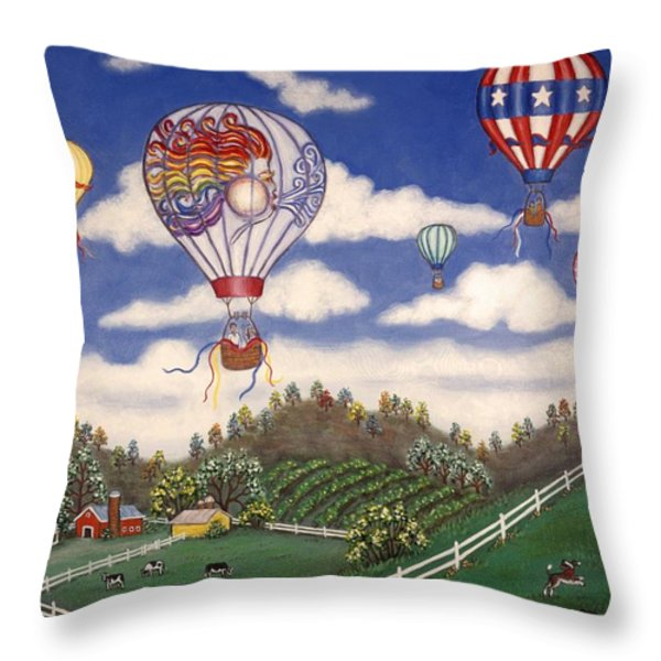 Ballooning Over The Country Throw Pillow by Linda Mears