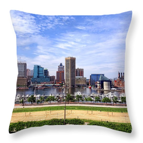 Baltimore Inner Harbor Beach Throw Pillow by Olivier Le Queinec