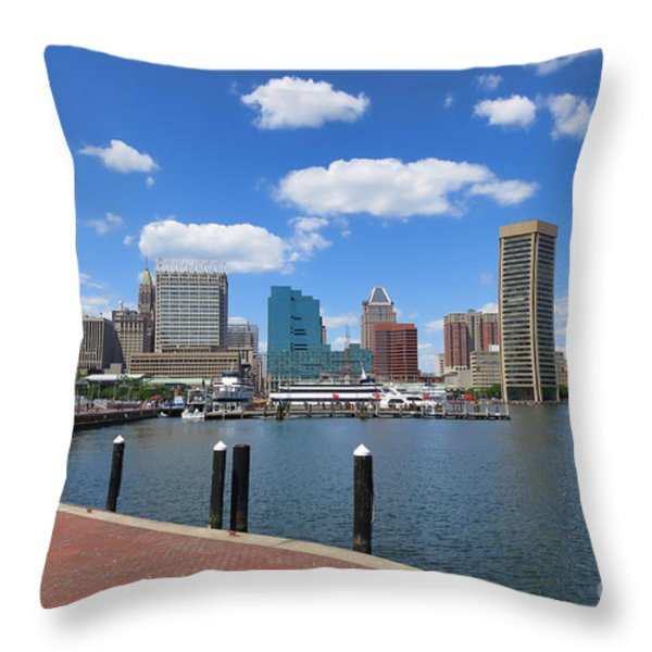 Baltimore Inner Harbor Throw Pillow by Olivier Le Queinec