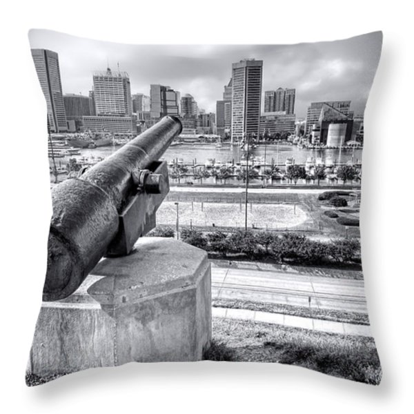 Baltimore Inner Harbor Skyline Throw Pillow by Olivier Le Queinec