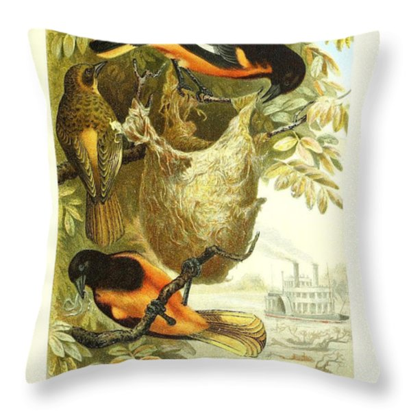 Baltimore Orioles Throw Pillow by Unknown Artist