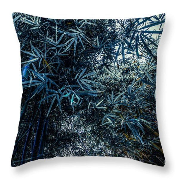 Bamboo - Blue Throw Pillow by Hannes Cmarits