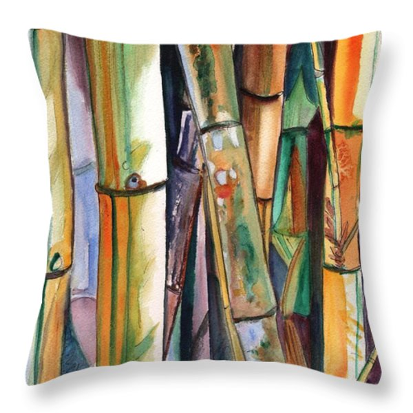 Bamboo Garden Throw Pillow by Marionette Taboniar