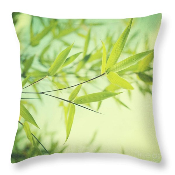 bamboo in the sun Throw Pillow by Priska Wettstein