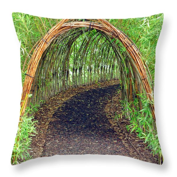 Bamboo Tunnel Throw Pillow by Olivier Le Queinec