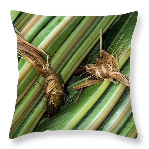 Banana Leaves Throw Pillow by Rick Piper Photography