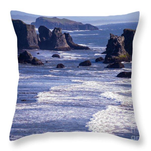 Bandon Beach Seastacks 6 Throw Pillow by Tracy Knauer